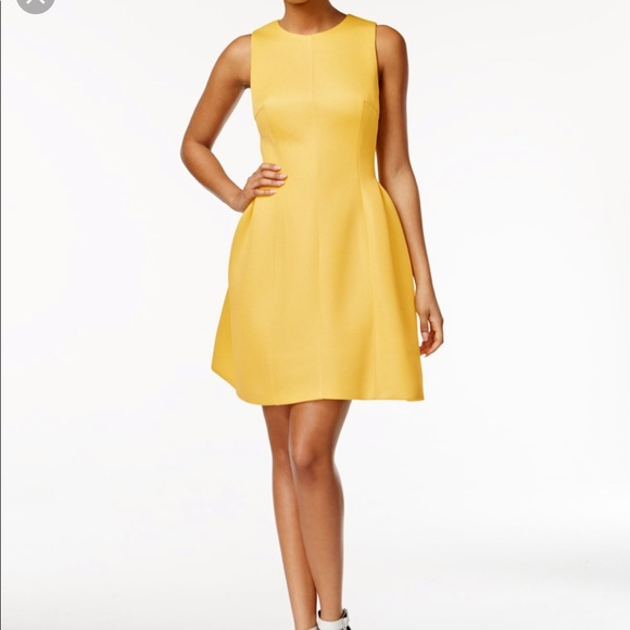 fb3a4d3c Calvin Klein Dresses | Yellow Textured Fit And Flare Dress | Poshmark
